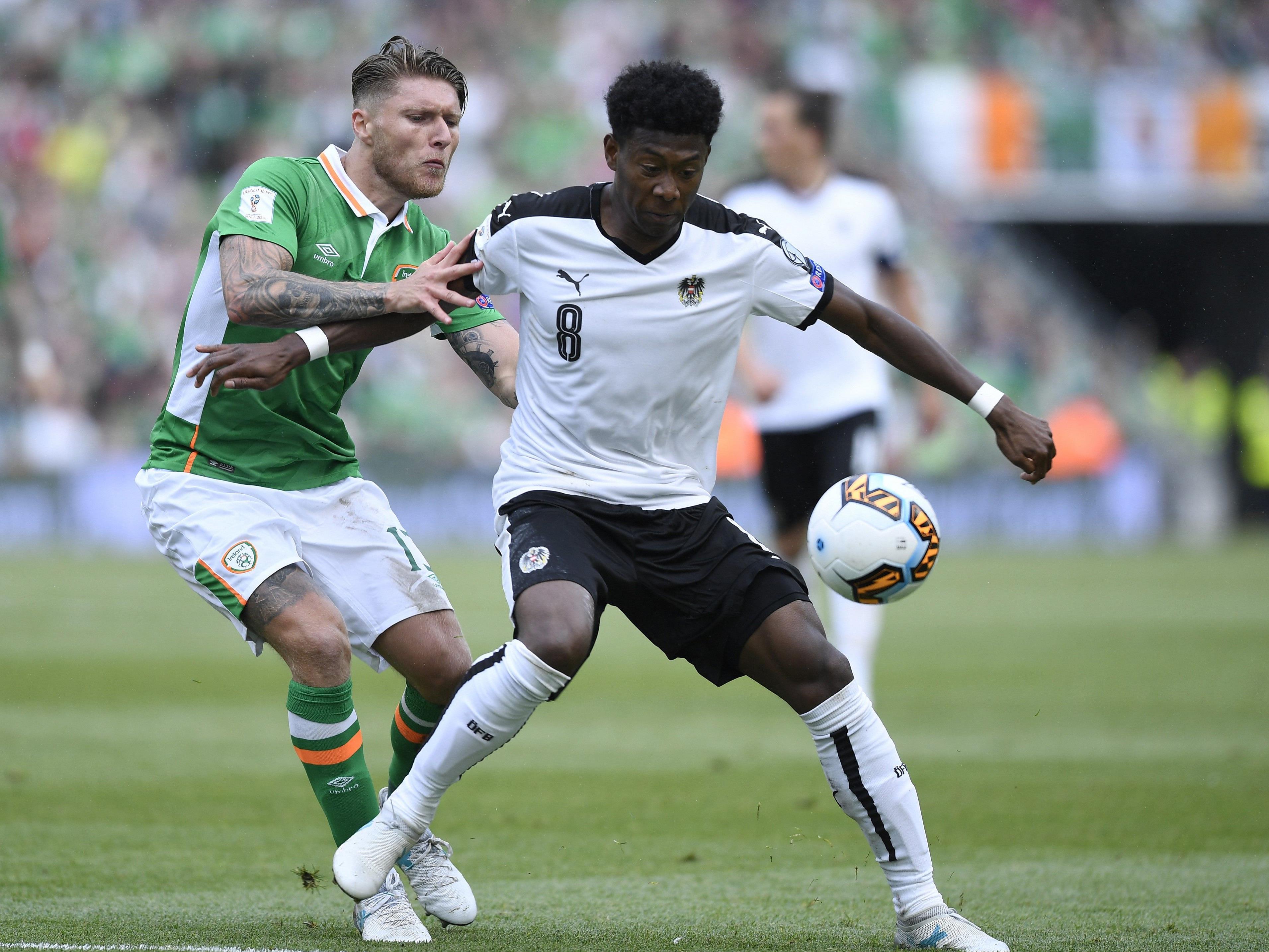 Alaba und Co. mussten sich in Irland mit einem 1:1-Remis zufrieden geben.