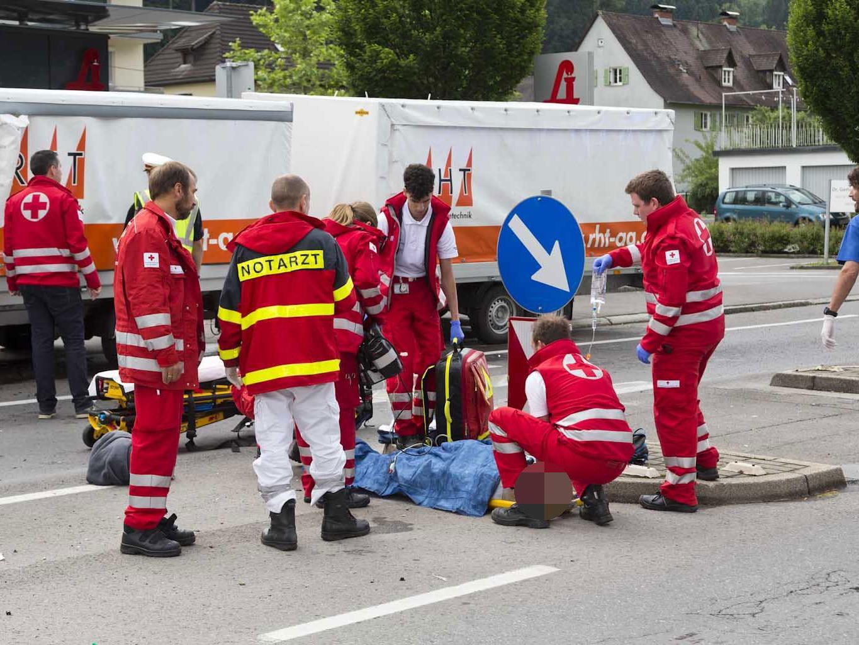 Bei einem Unfall in Feldkirch wurde eine Frau schwer verletzt.