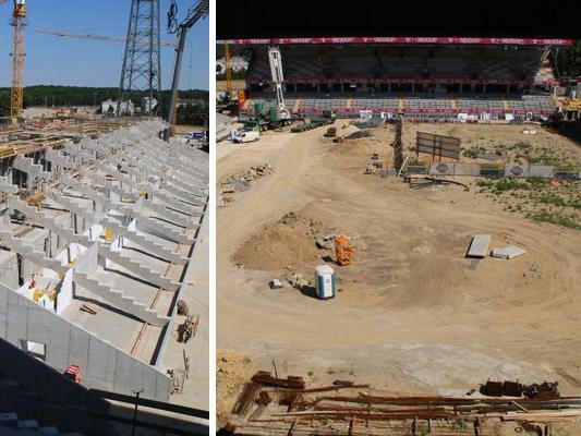 Die Wiener Austria liegt beim Umbau der Generali-Arena voll im Zeitplan.