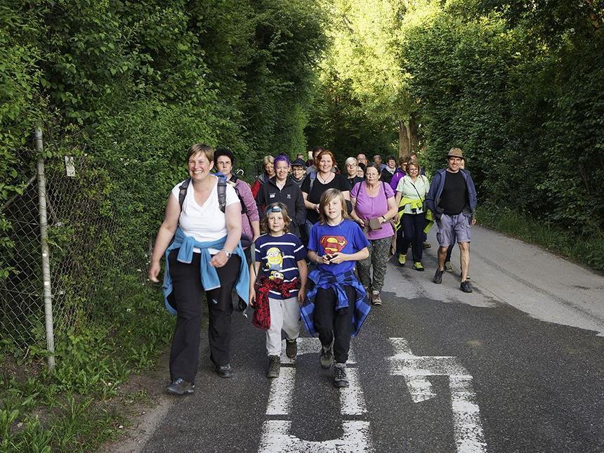 Über 30 Teilnehmer machten sich auf, um entlang des Alten Rheins nach Fledermäusen zu suchen.