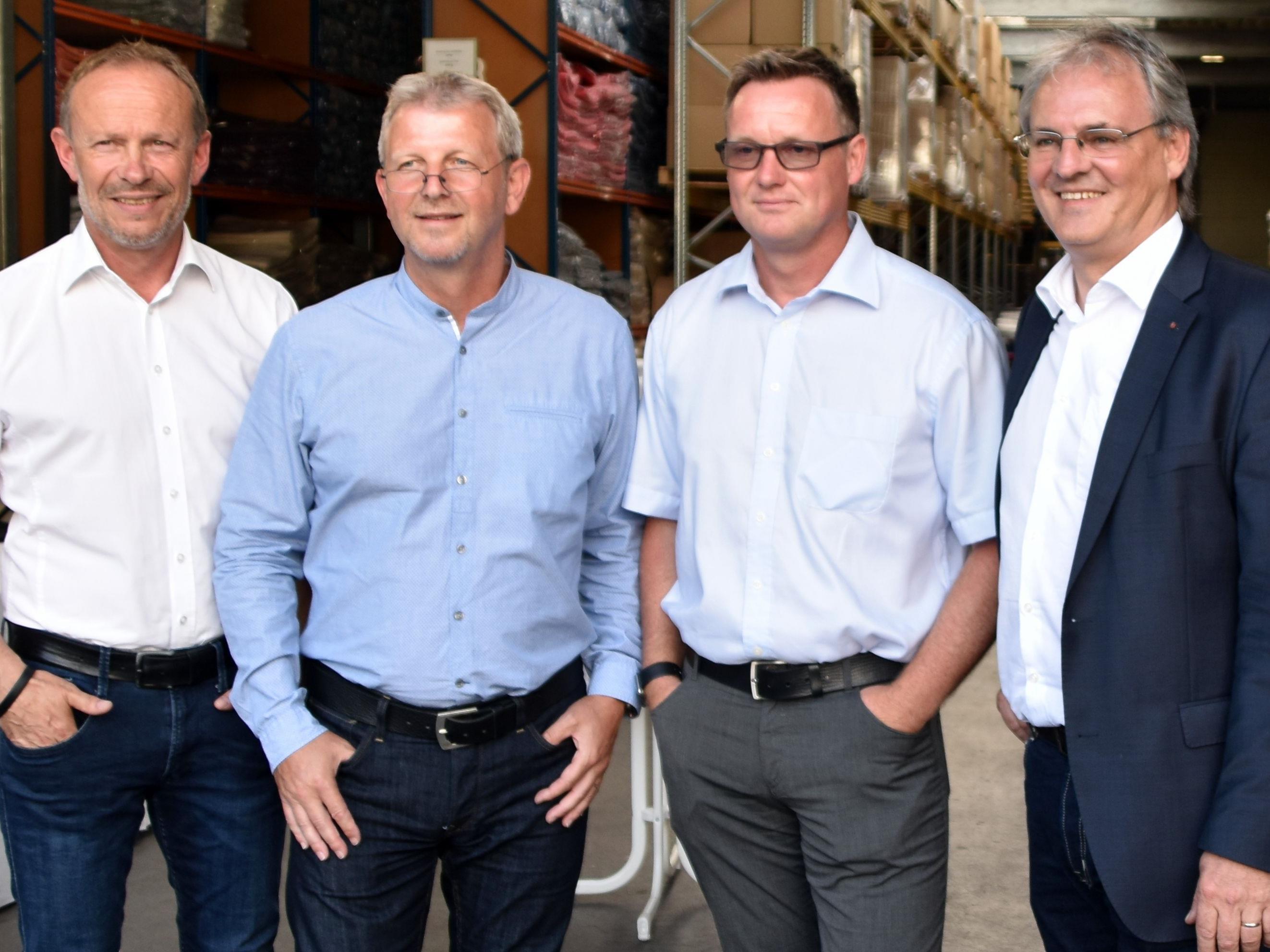 Vizebgm. Franz Kopf, Geschäftsführer Fa. Fussenegger Gottfried Wohlgenannt und Jürgen Spiegel, Landtagspräsident Harald Sonderegger