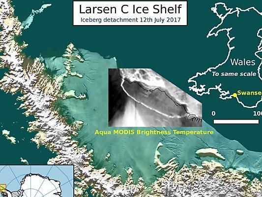 Der riesige Eisberg wandert gen Norden und wird schmelzen