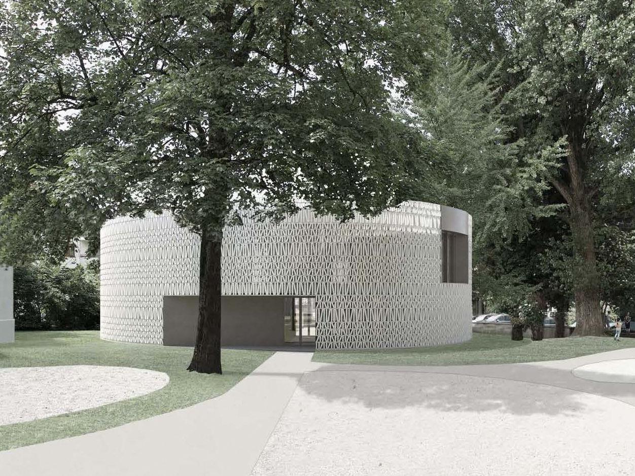 Als zweigeschossiger Pavillon im Park zwischen Schulgasse und Jahngasse südlich der Volksschule Markt wird die neue Stadtbücherei errichtet.