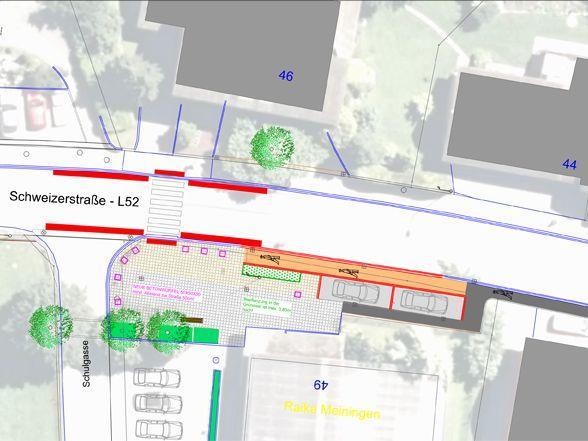 Entschärfung der Kreuzung Schweizerstraße (L52) / Schulgasse.