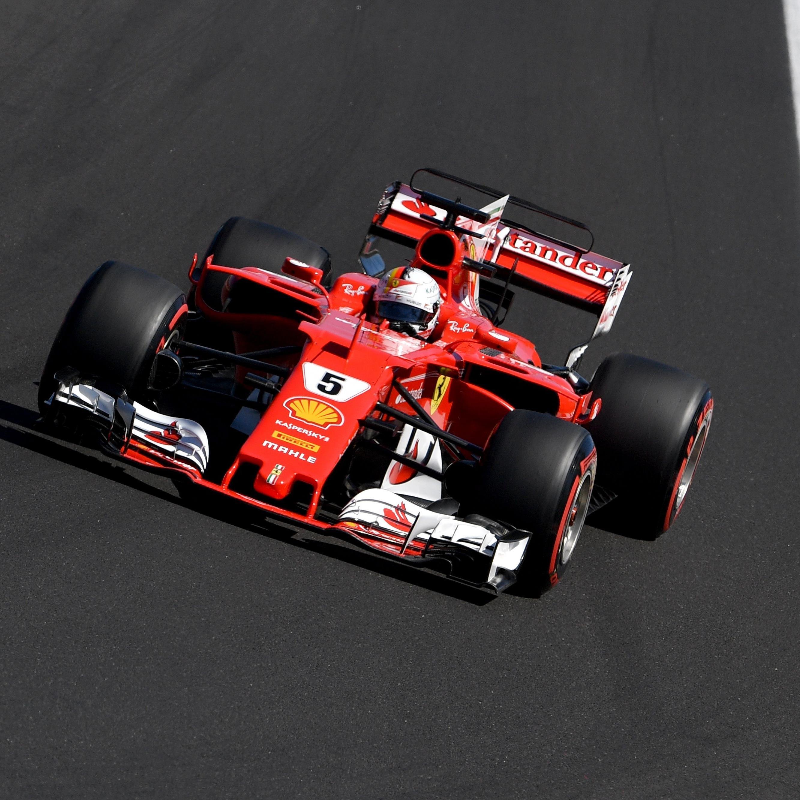 Sebastian Vettel (Ferrari) startet in Ungarn von der Pole Position.