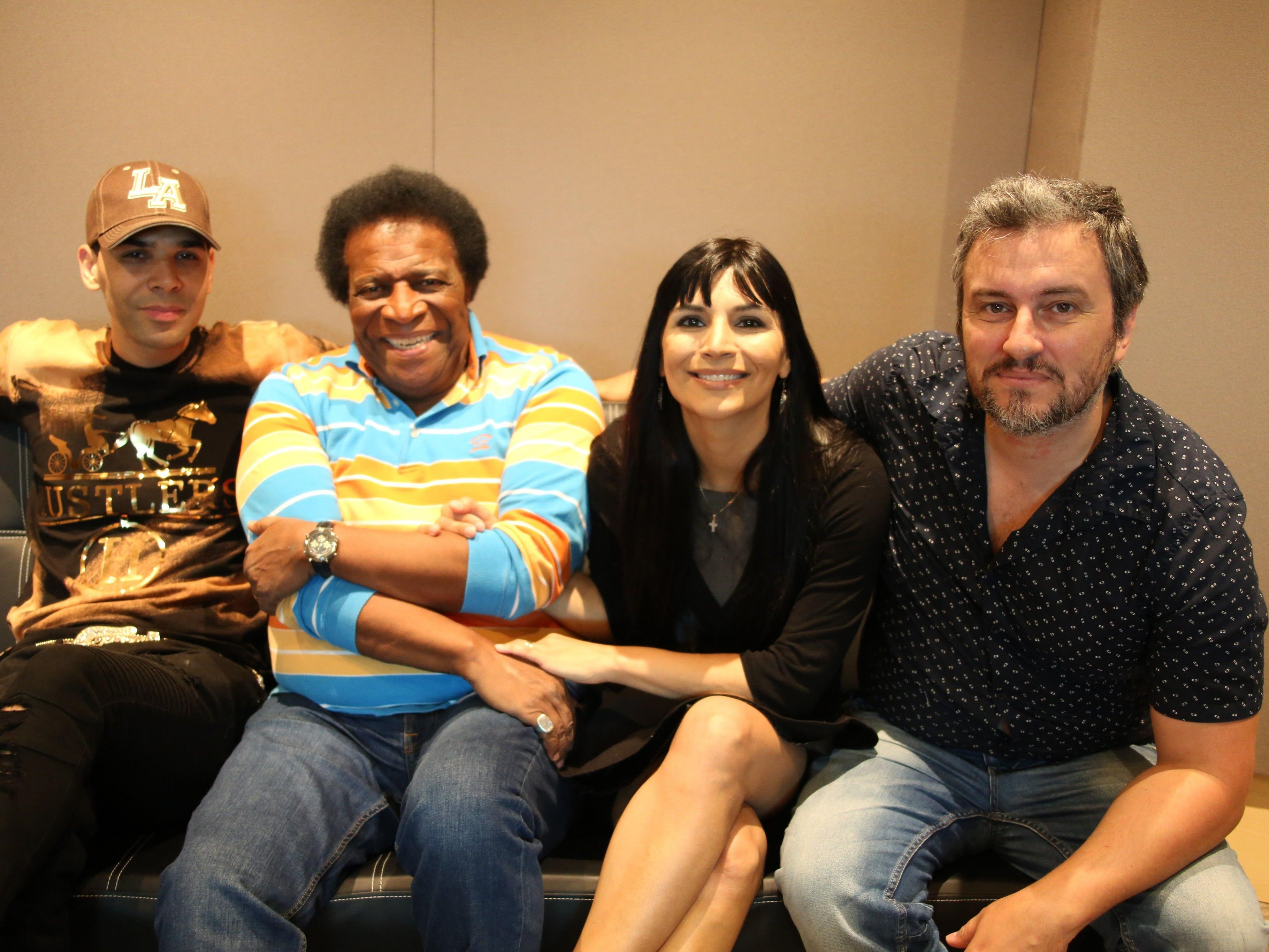 Al Walser und Roberto Blanco mit Marcella und Marco Adami im Studio Colosseum Sound Factory.