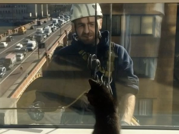 Der kleine Guinness und die Fensterputzer.