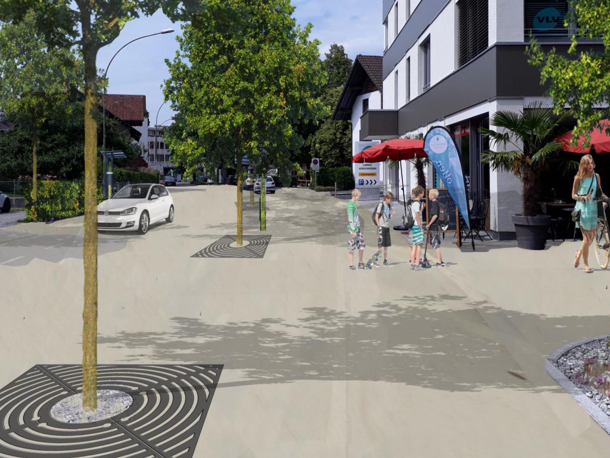 Im Zuge der Bauarbeiten wird der Bereich vom Vorkoster bis zur Raiffeisenstraße als attraktive Begegnungszone gestaltet.