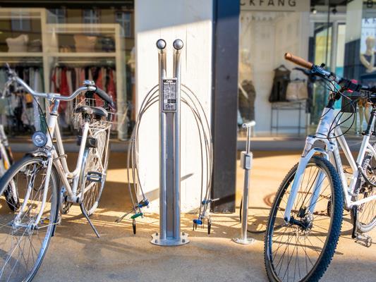 Fahrrad-Servicestation beim GWL in der Innenstadt